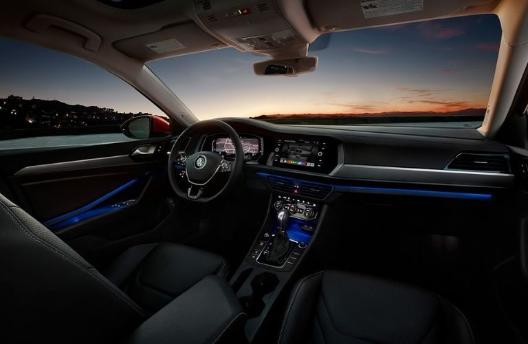 dashboard view of the 2021 VW Jetta with ambient lighting