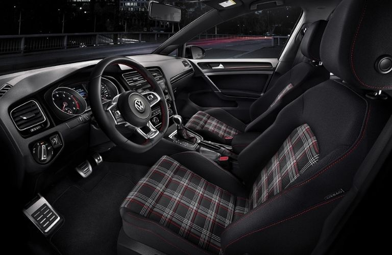 front seats with Clark Plaid clothing in the 2021 VW Golf GTI
