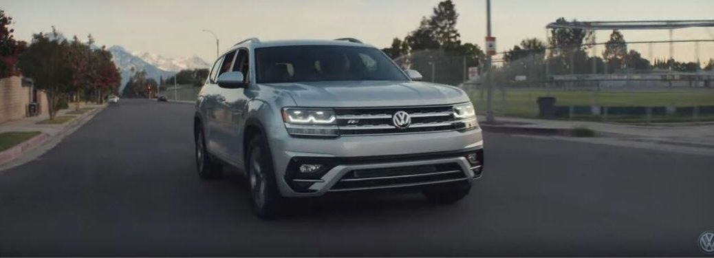 silver-2019-VW-Atlas-driving-down-suburban-street