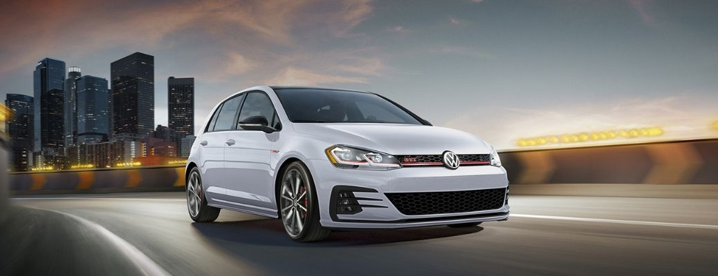 front and side view of the 2021 VW Golf GTI Autobahn
