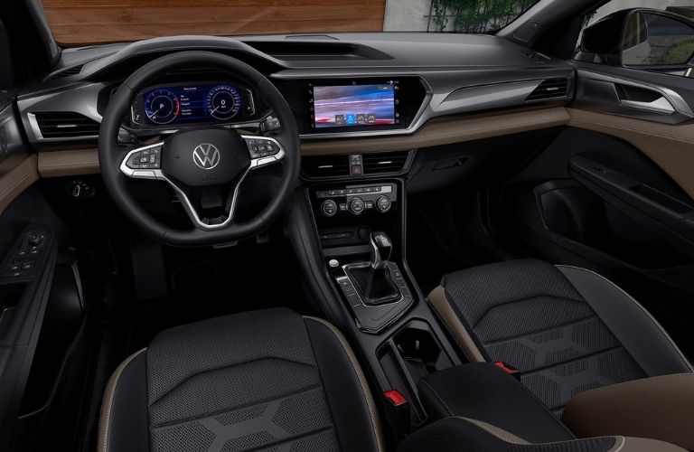 2022 Volkswagen Taos front row, steering, and entertainment features