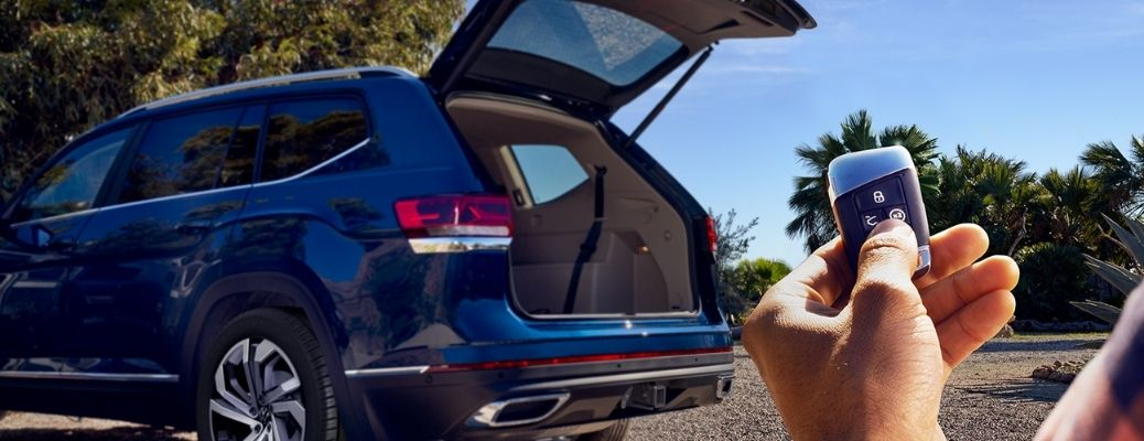 rear quarter view of the 2022 Volkswagen Atlas with its cargo area view