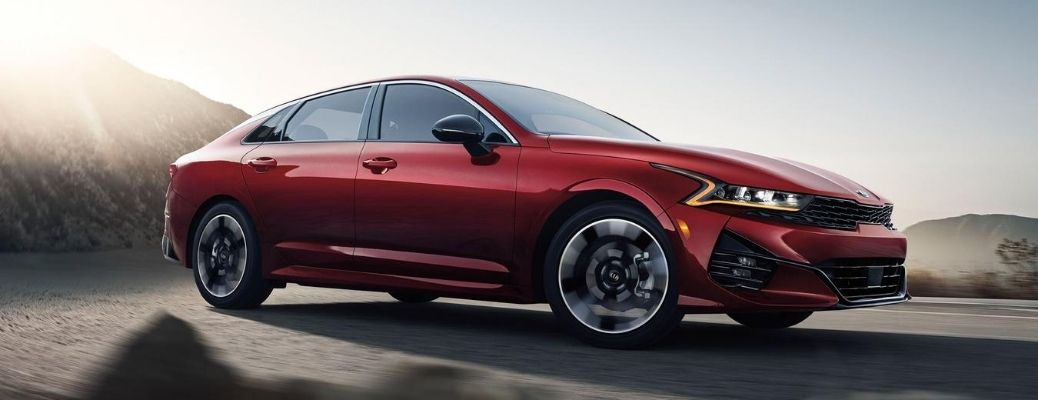 Exterior view of a red 2021 Kia K5