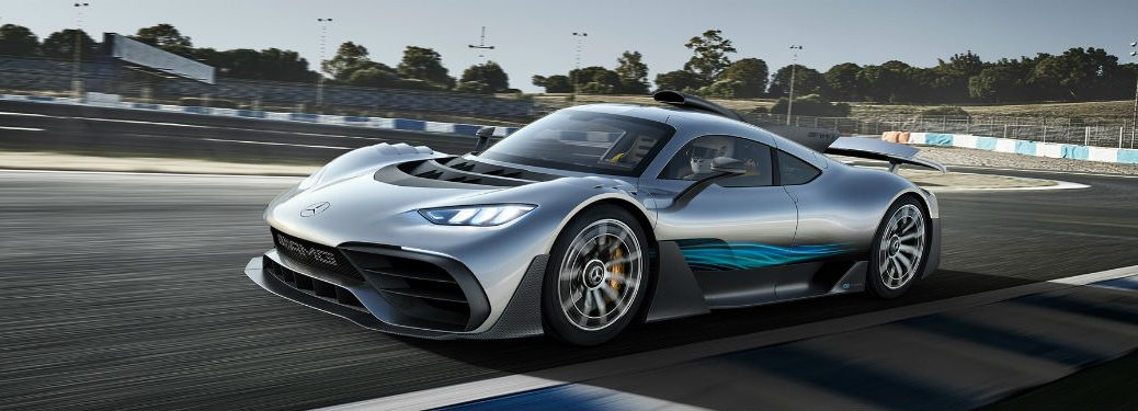 Mercedes-AMG ONE exterior front fascia and drivers side going fast on racetrack
