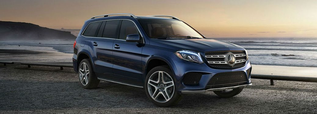 2019 MB GLS SUV exterior front fascia and passenger side on beach