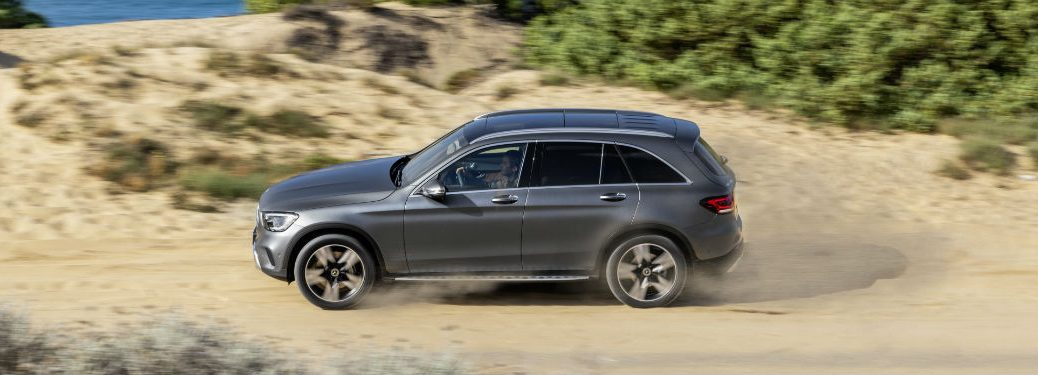 2020 MB GLS SUV exterior driver side on sandy beach