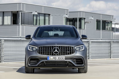 2020 MB GLS exterior front fascia in front of modern gray building