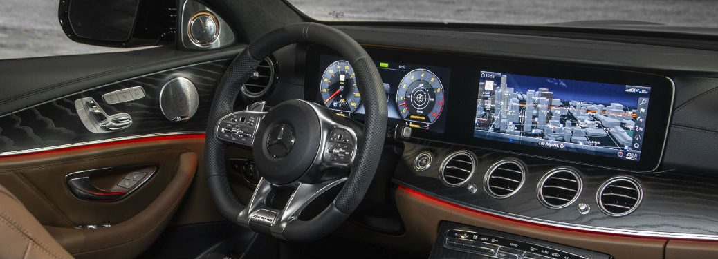 2019 MB E-Class interior front cabin steering wheel display screen and dashboard