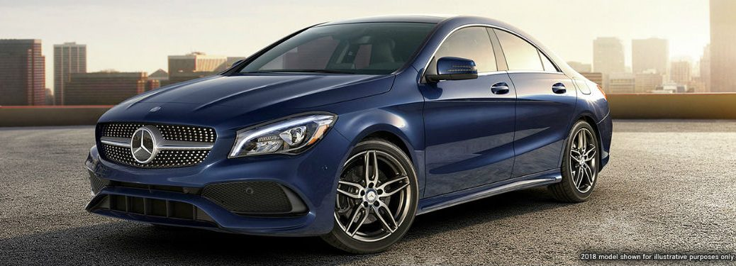 2019 MB CLA exterior front fascia and drive side in empty city lot