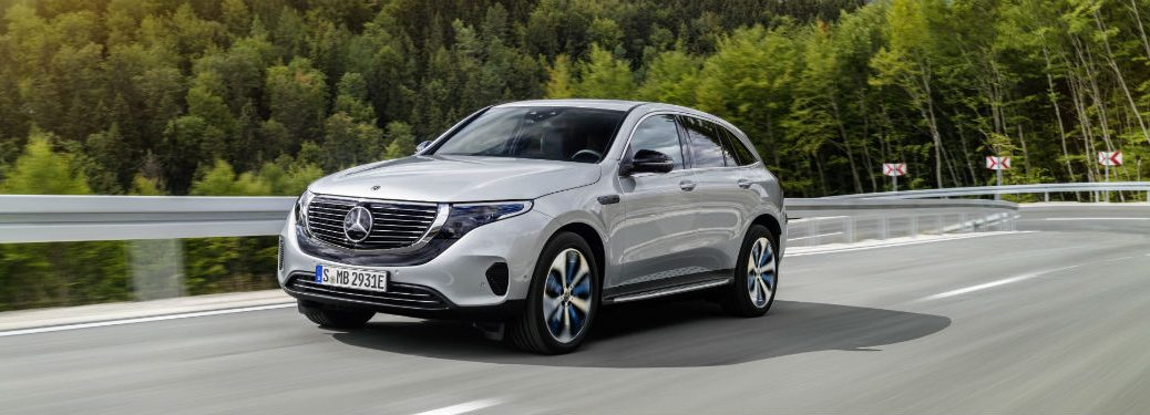2020 MB EQC exterior front fascia and driver side going fast on blurred highway