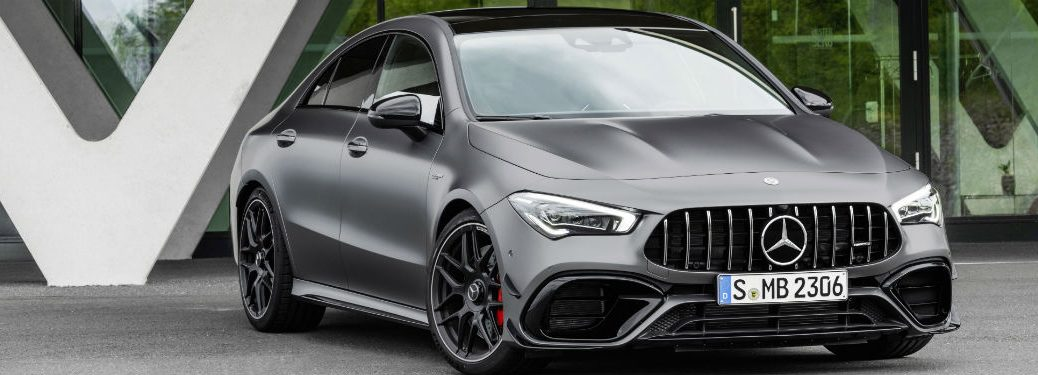 2020 Mercedes AMG CLA exterior front fascia and passenger side in front of windows