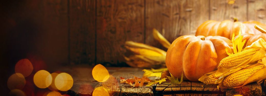 Pumpkins and corn on wood table with wood background