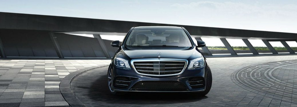 2020 MB S-Class sedan exterior front fascia on curved parking garage