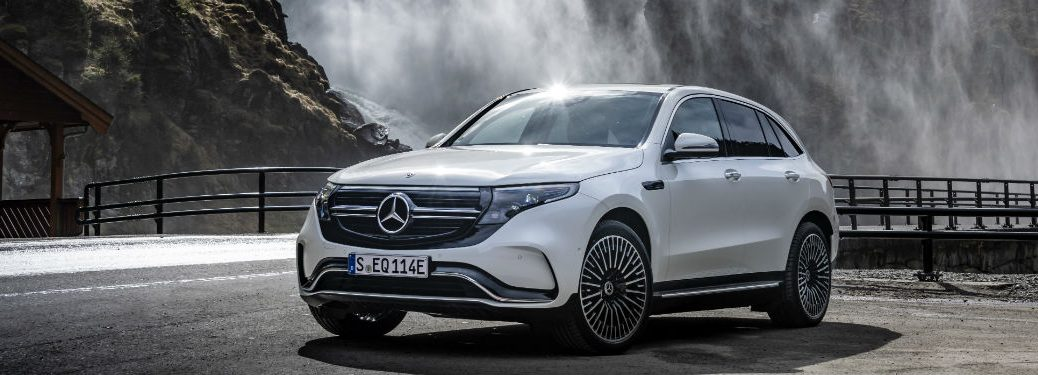 2020 MB EQC exterior front fascia driver side in front of waterfall