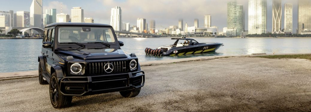 2020 MB G-Class exterior front fascia on beach with boat and city background