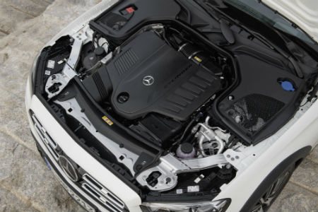 2021 MB E-Class Wagon exterior looking down at engine