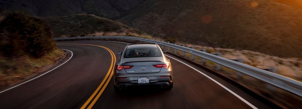 2020 MB CLA exterior rear fascia on highway with sunset