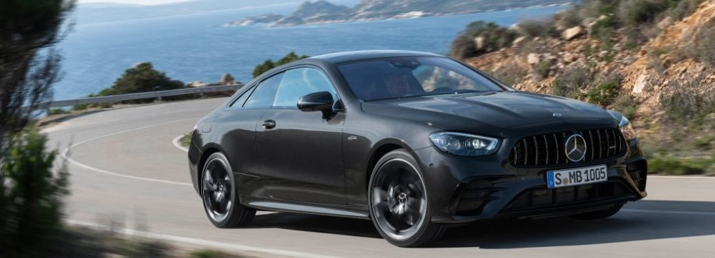 2021 MB E-Class Coupe exterior front fascia passenger side on road in front of ocdan