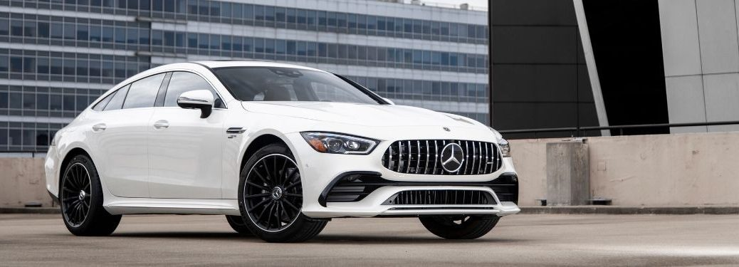 2021 MB AMG GT Coupe exterior front fascia passenger side in empty lot