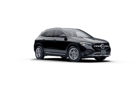 Night Black 2020 MB GLA exterior front fascia passenger side on blank canvas