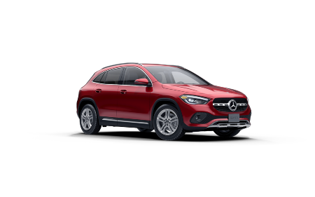 Patagonia Red Metallic 2021 MB GLA exterior front fascia passenger side on blank canvas