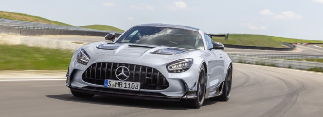 2021 MB AMG GT Coupe exterior front fascia driver side on winding highway