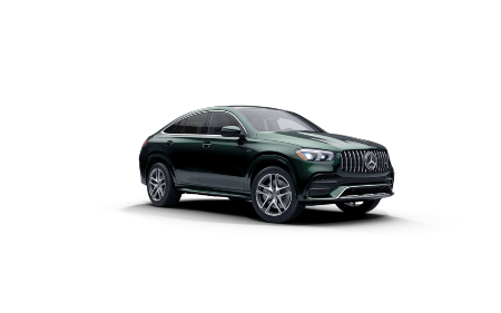 Emerald Green Metallic 2021 MB GLE Coupe exterior front fascia passenger side