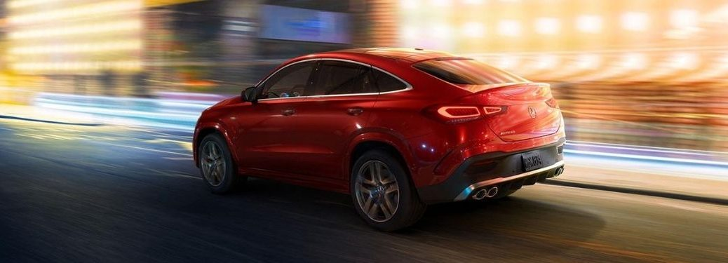 2021 MB GLE Coupe exterior rear fascia driver side on blurred background