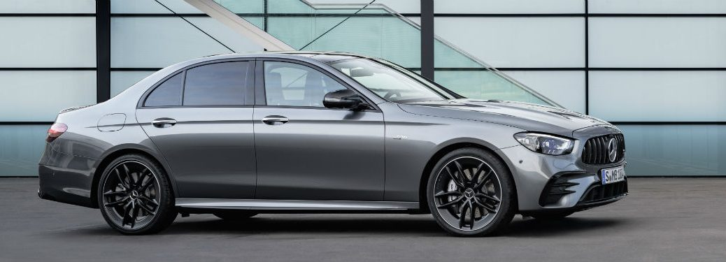 2021 MB E-Class exterior passenger side profile in front of windows