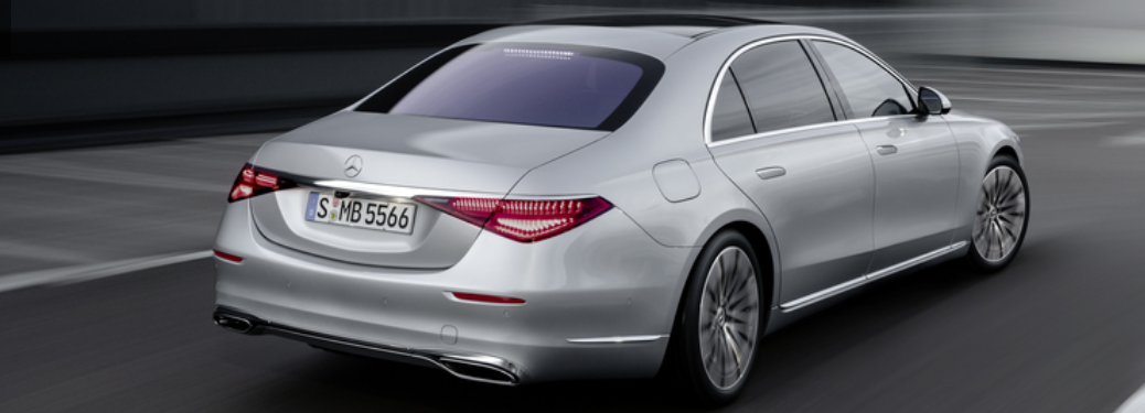 2021 MB S-Class exterior rear fascia passenger side on blurred background