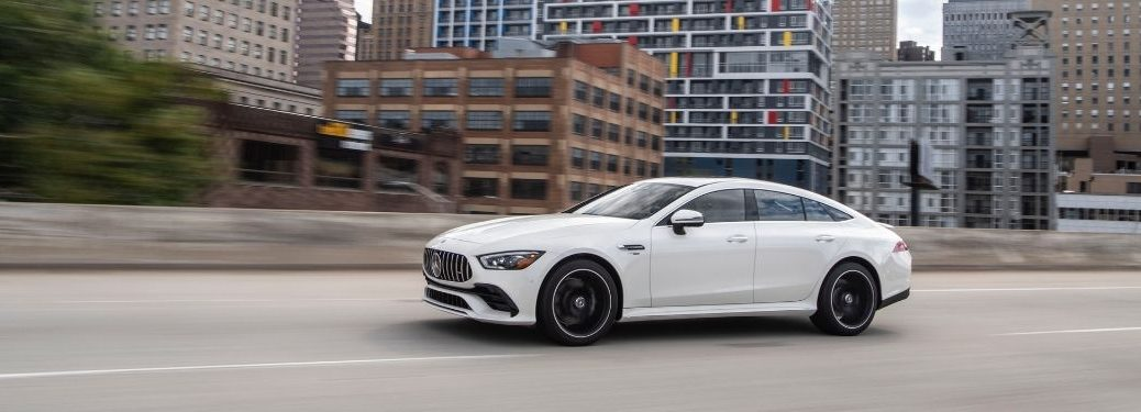 2021 MB GT Coupe exterior front fascia driver side in city