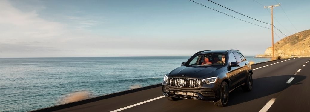 2020 MB GLC exterior front fascia driver side on road with water