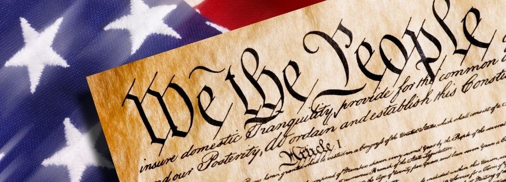 Declaration of independance against american flag