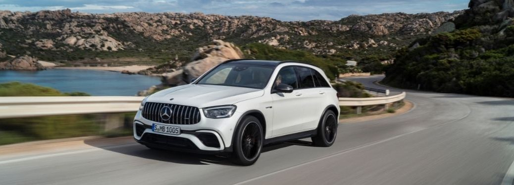 2022 MB GLC exterior front fascia driver side on road with water on left