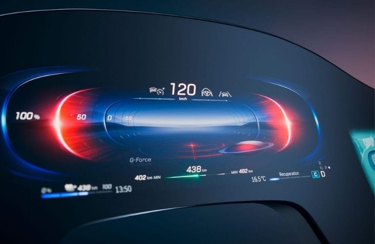 Image showing the digital speedometer of the 2022 Mercedes-Benz EQS