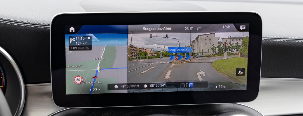 Mercedes-Benz Augmented Reality on the infotainment display