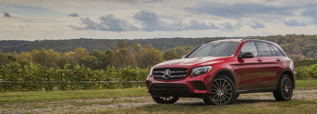 2018 GLC SUV in Red front and side view