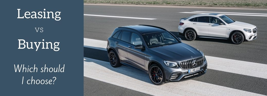 2018 GLE SUV and Coupe with leasing vs buying text