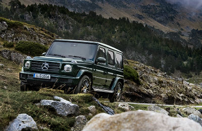 2019 MB G-Class exterior front fascia and driver side on rocky mountain