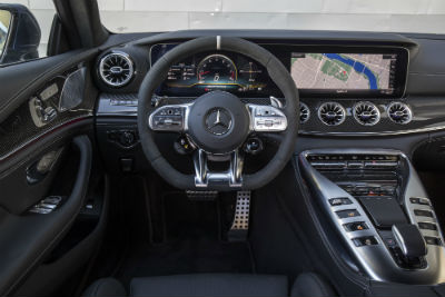 2019 MB AMG GT 63 interior front cabin steering wheel and partial dashboard