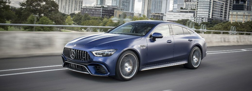 2019 MB AMG GT 63 exterior front fascia and drivers side on city road