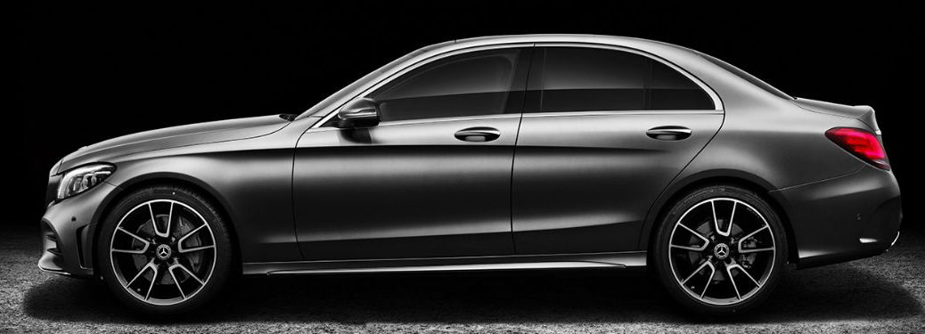 2019 MB C-Class exterior drivers side profile with dramatic lighting
