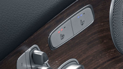 2019 MB C-Class close up of heated and ventilated seat controls