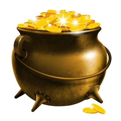 Cartoon pot of gold on white background