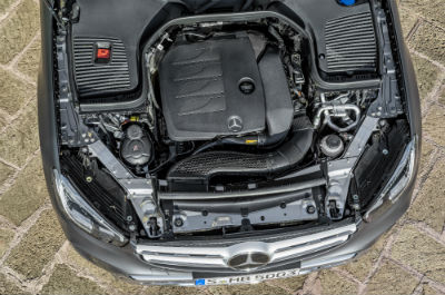 2020 MB GLC SUV exterior looking down on engine of the vehicle