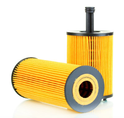 2 vehicle oil filters on a white background