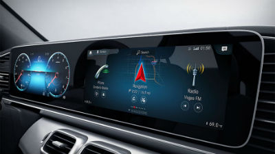 2020 MB GLE SUV interior close up of the MBUX® system touchscreen display