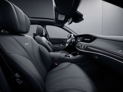 2020 MB AMG S 65 interior side view of seats and steering wheel from passenger side