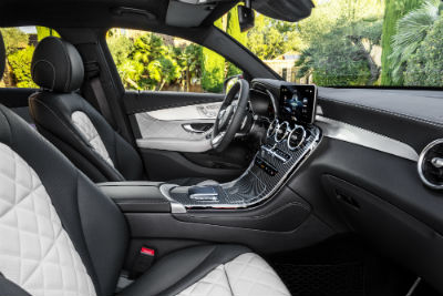 2020 MB GLC Coupe interior side view of dashboard seats and steering wheel