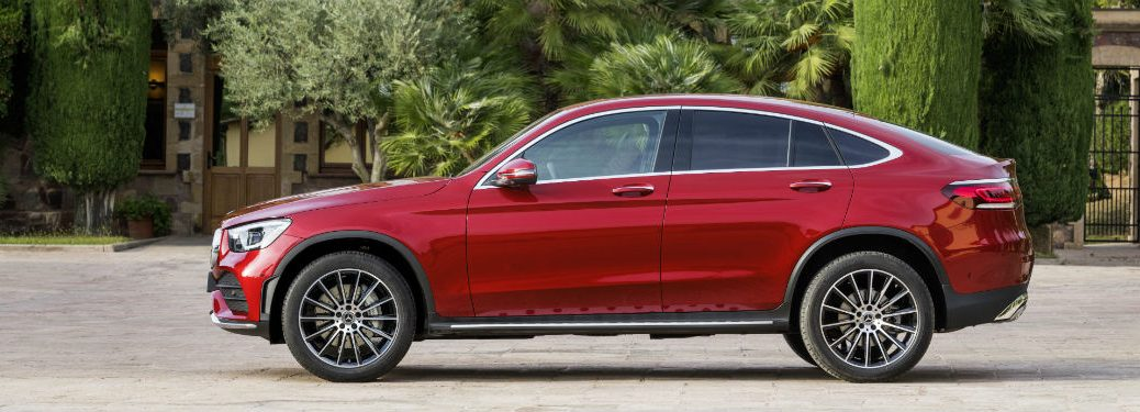 2020 MB GLC Coupe exterior drivers side profile in front of foliage